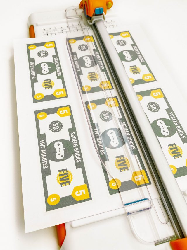 Sheet of Screen Bucks in a paper cutter.