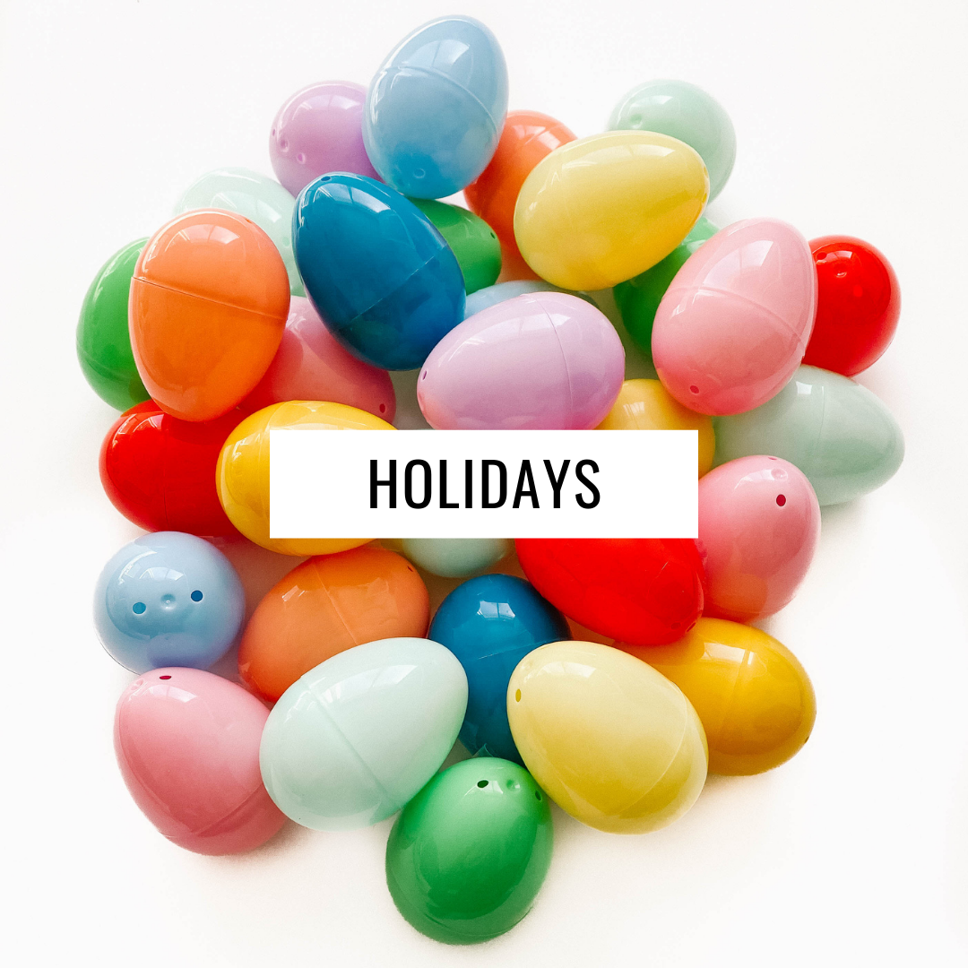 Pile of plastic Easter eggs with text overlay - Holidays.
